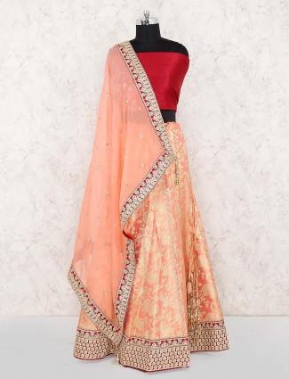 Pretty peach banarasi silk semi stitched wedding lehenga choli
