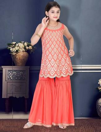 Pretty peach festive cotton silk punjabi sharara suit