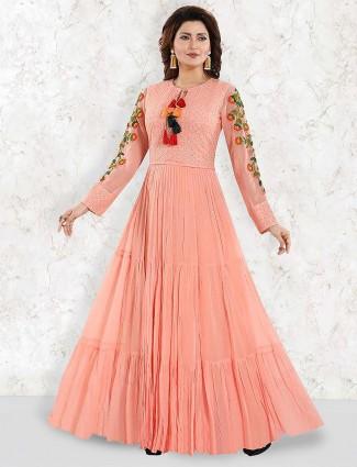 Pretty peach floor length anarkali salwar suit in georgette