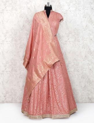 Pretty peach georgette fabric floor length anarkali salwar suit