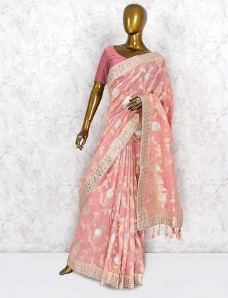 Pretty peach silk party saree