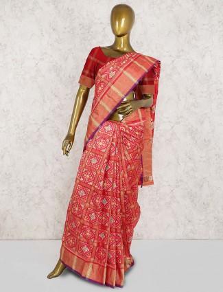Pretty peach wedding patola silk saree