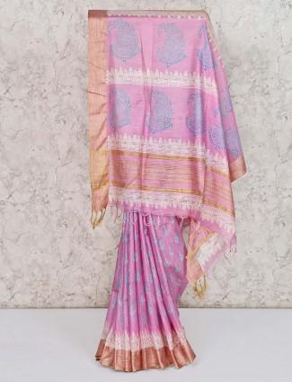 Pretty pink bhagalpuri silk saree