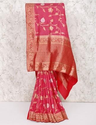 Pretty pink color saree in silk fabric