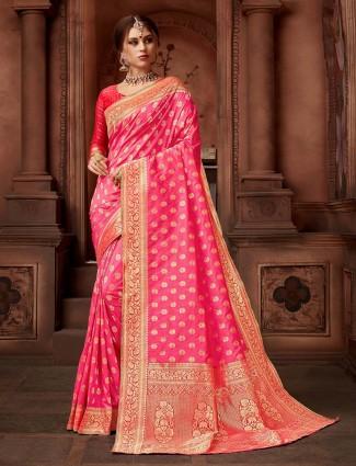 Pretty pink colored wedding wear silk saree