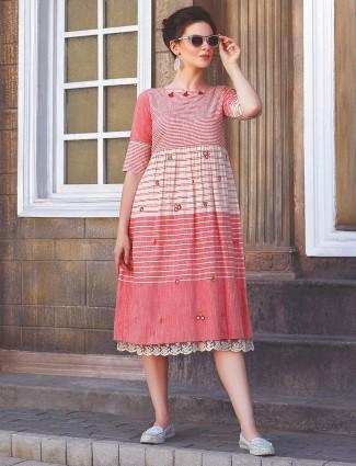 Pretty pink cotton fabric casual kurti