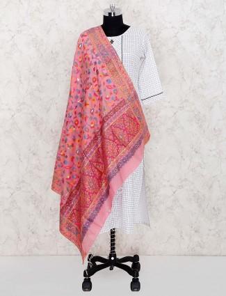 Pretty pink dupatta in pashmina silk