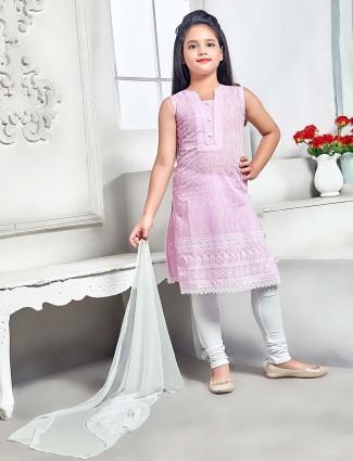 Pretty pink festive wear cotton punjabi salwar suit