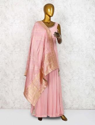 Pretty pink festive wear punjabi palazzo suit