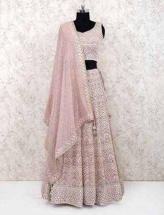 Pretty pink georgette fabric lehenga choli for party