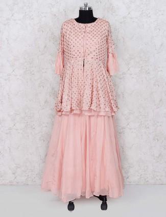 Pretty pink georgette fabric lehenga cum salwar suit