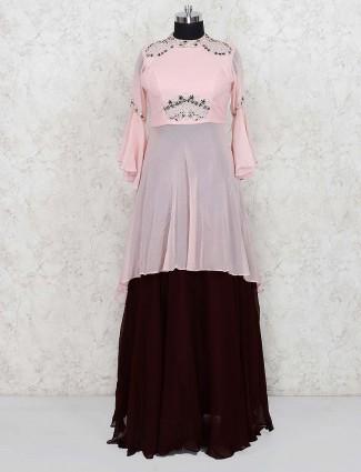 Pretty pink georgette lehenga choli for party wear