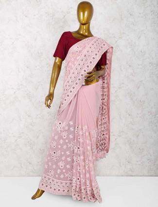 Pretty pink georgette party wear saree