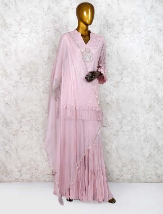 Pretty pink georgette punjabi sharara suit