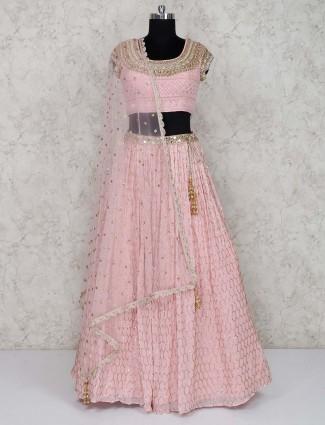 Pretty pink georgette wedding lehenga choli