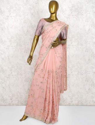 Pretty pink georgette wedding saree
