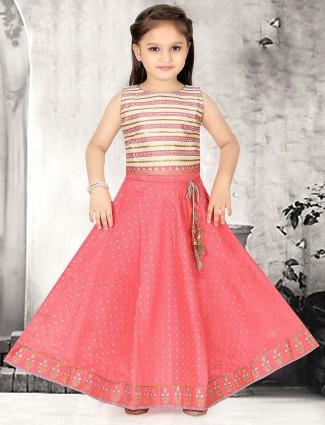 Pretty pink lehenga choli in cotton silk