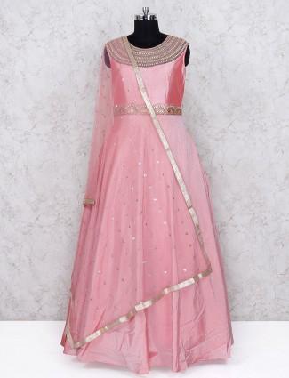 Pretty pink party wear floor length anarkali salwar suit