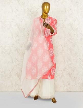 Pretty pink printed cotton punjabi palazzo suit