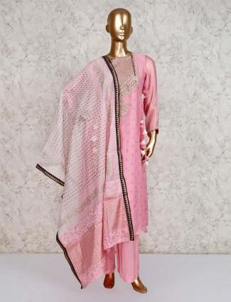 Pretty pink punjabi salwar kameez in cotton silk