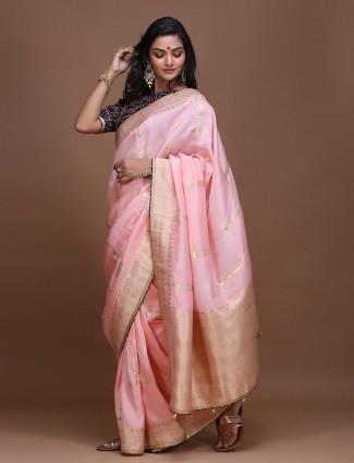 Pretty pink pure silk wedding wear saree