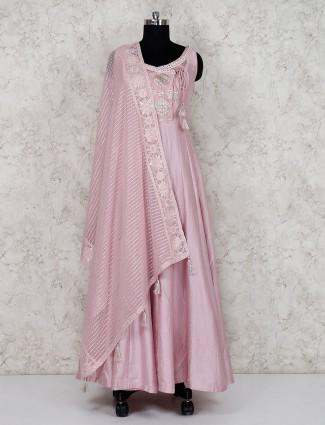 Pretty pink raw silk floor length anarkali salwar suit