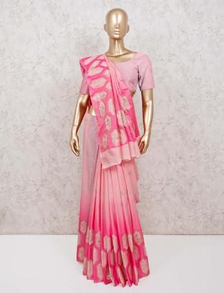 Pretty pink sari in semi silk