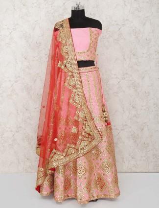 Pretty pink silk bridal semi stitched lehenga choli