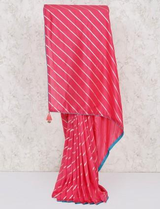Pretty pink silk leheriya saree