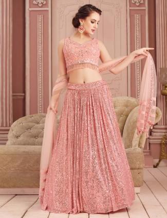 Pretty pink wedding wear lehenga choli