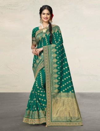 Pretty rama green cotton silk sari