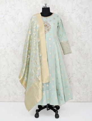 Pretty sea green cotton silk wedding palazzo suit