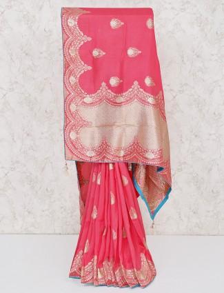 Pretty wedding wear pink silk saree