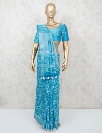 Printed aqua cotton festive saree