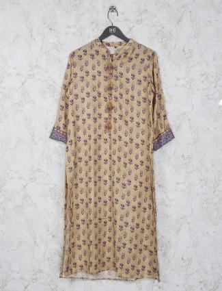 Printed beige color cotton fabric kurti
