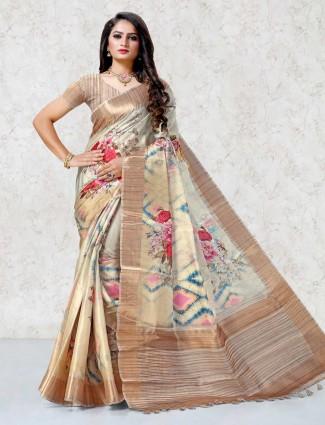 Printed beige festive mulberry silk saree