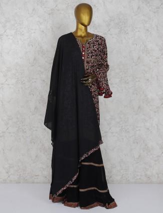 Printed black cotton fabric punjabi sharara suit