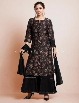 Printed black cotton festive wear sharara suit