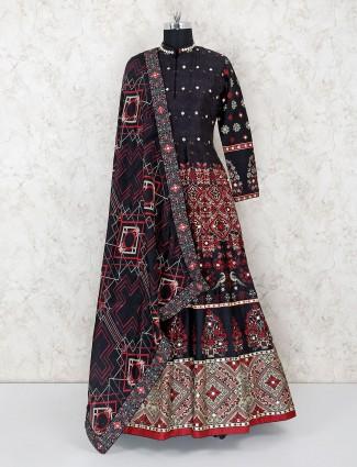 Printed black floor length anarkali suit in cotton silk