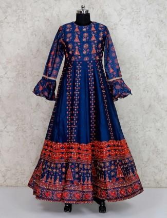 Printed blue floor length anarkali salwar kameez