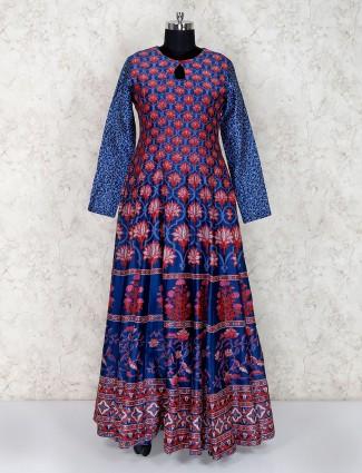 Printed blue floor length anarkali suit for festive