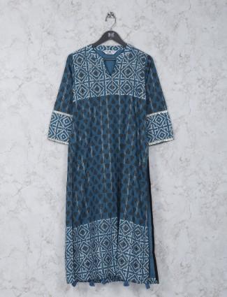 Printed blue hue casual wear kurti