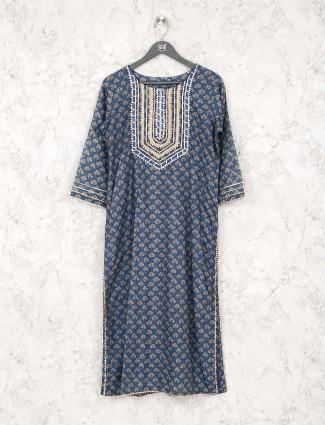 Printed blue hue cotton kurti