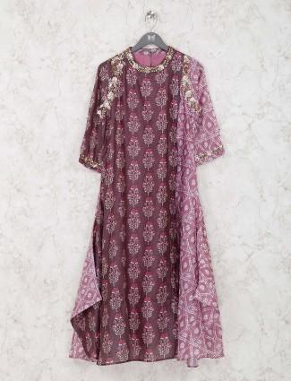 Printed brown color cotton kurti