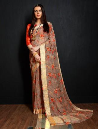 Printed brown color georgette saree