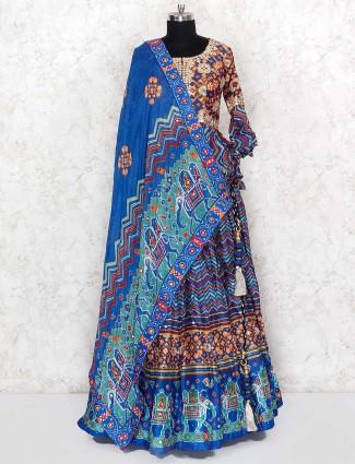 Printed cotton fabric blue color lehenga choli