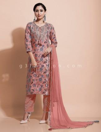 Printed cotton silk peach kurti set