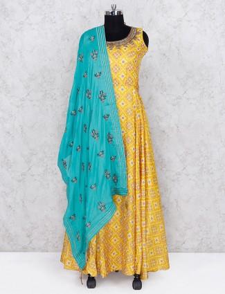 Printed cotton silk yellow color floor length anarkali salwar suit