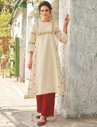 Printed cream color cotton kurti