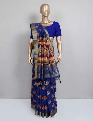 Printed dark blue saree for festive wear